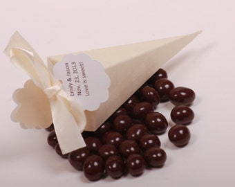 Custom Chocolate Espresso Bean Wedding Favors / Corporate Giveaway Gifts/ Shower Favors. Cone die cut box. .