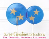 Nautical Wedding Lollipops, Beach Wedding, Gold Stars, Fourth of July, Twinkle Twinkle, Candy Lollipops, Candy, Party Favors, -Set of Six