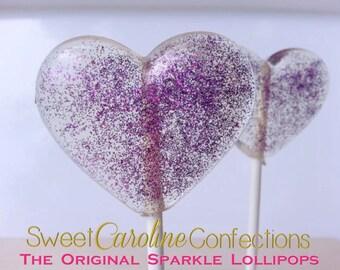 Purple Lollipops, Wedding Lollipops, Purple Favors, Purple Wedding Favor, Heart Candy, Lollipops, Sweet Caroline Confections-Set of Six