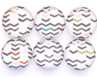 Chevron Magnets, Refrigerator Magnets, Glass Magnets, Fridge Magnets, Premium Magnets, Colorful Mini Chevrons Magnets, Set of 6