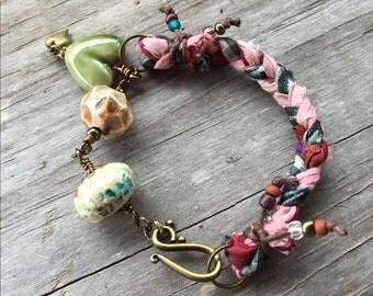 Calico Heart Sari Ribbon Bracelet