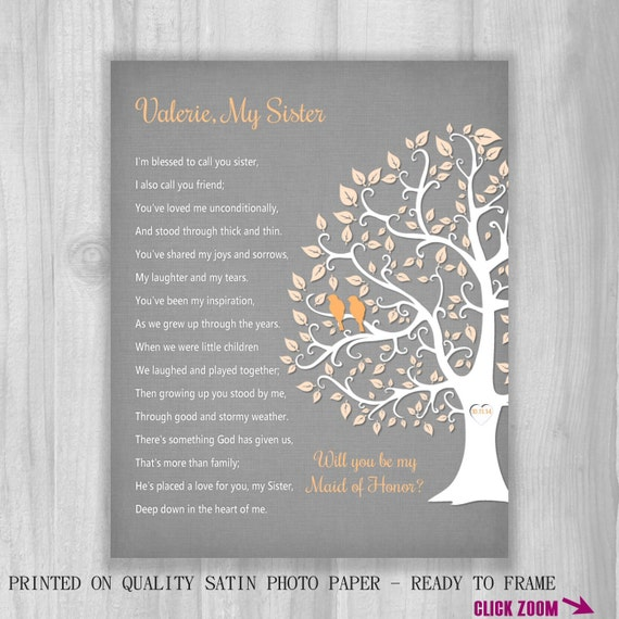 SISTER GIFT Will You Be My Maid Of Honor Proposal Personalized