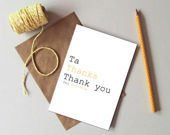 Thank you card - Thank you very much card - Modern typography thank you card - Thank you gift card