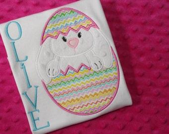 Bunny in Egg Appliqued Easter Shirt