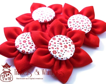 Ladybugs Kanzashi Fabric Flower (1 pc)