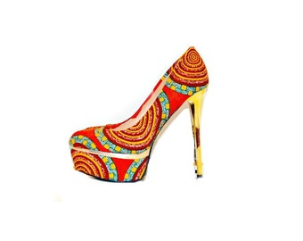 African Print Pumps, Orange African Print Heels, African Ankara Fabric Platform Shoes -Platform Wedding Shoes -High Heels - Platforms