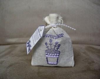 Organic lavender sachet in muslin bag, hand-made (medium size) - gift, present, homewarming