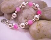 Hot Pink Dragons Vein Agate & Silver Ball Bracelet
