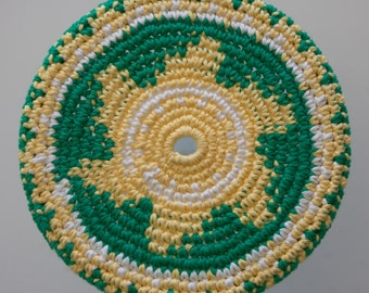 """Cotton Crochet Pocket Flying Disk Toy in Bright Green/Yellow/White--7.5"""""""