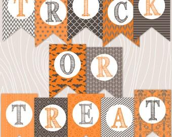 40% Off Sale Halloween Primitive Decor Trick or Treat Digital Instant Download Banner