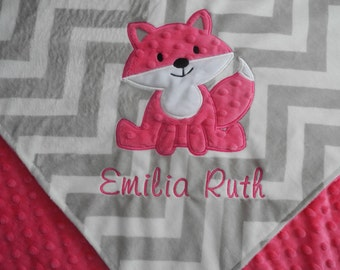 Baby Gift, Fox Baby Blanket, Custom Blanket, Minky Baby Blanket, Made to Order