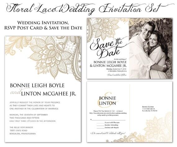Digital wedding set invitation rsvp post card save the for Digital wedding invitations with rsvp
