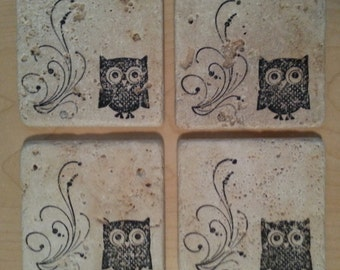Natural Stone Rustic Owl Coasters
