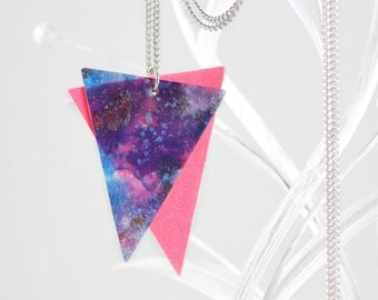 Galaxy Stardust Triangle Neon Necklace With Hand Painted Silk Plus Red Pink Neon Pendant With Long Silver Necklace Of Stainless Steel