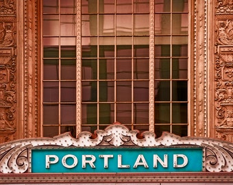 Portland Oregon, Portland Sign at Arlene Schnitzer Concert Hall, Fine Art print, teal, and brown