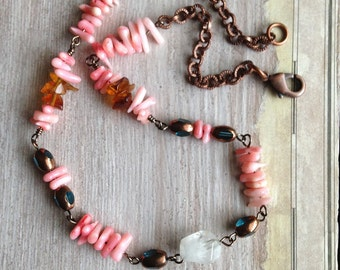 Pink Coral Necklace, Hawaiian Style, Clear Quartz, Pink Beach Coral, Unique Coral Necklace, Artisan Jewelry, Amber Chips, Boho  Chain