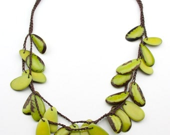 Crochet   Green Tagua Necklaces.