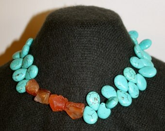 No. 6: Teardrop Turquoise and Carnelian Necklace