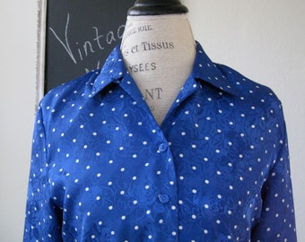 Bright Blue with White Polka Dots Blouse