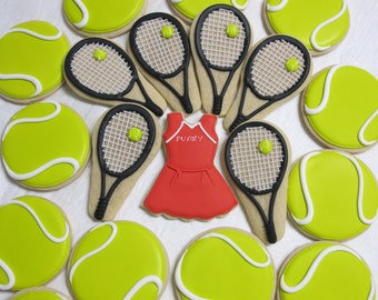 Tennis Racket and Balls Sugar Cookies Set -  Tennis Cookies, Sports Cookies, Tennis Uniform, Tennis Racket, Racquet, Custom Cookies