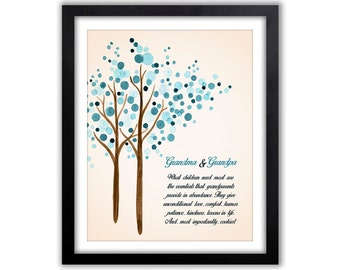 Grandparent Tree - Watercolor Art Print For The Home - Unique Gift For Grandparents From Grandkids