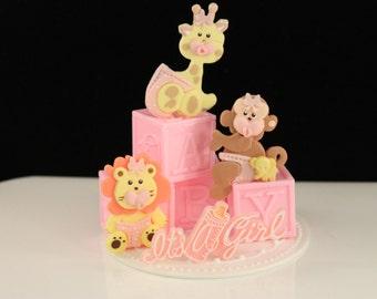 Baby Safari Cake Topper / Baby Girl Cake Topper / Itu0027s A Girl Shower Topper  /