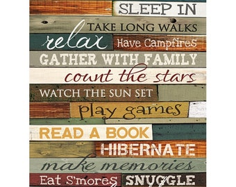 MA846 - Cabin Rules / Textured, finished wall decor ready to hang by Marla Rae