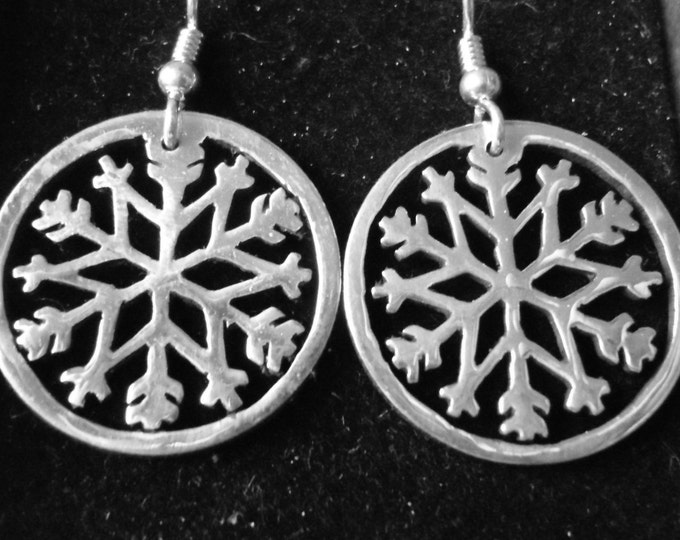 Snowflake #2 earrings w/rim quarter size