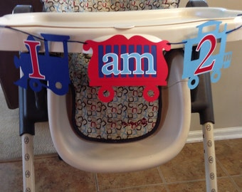 Train Theme First Birthday Highchair Banner I am 2 | Perfect for a vintage train themed party