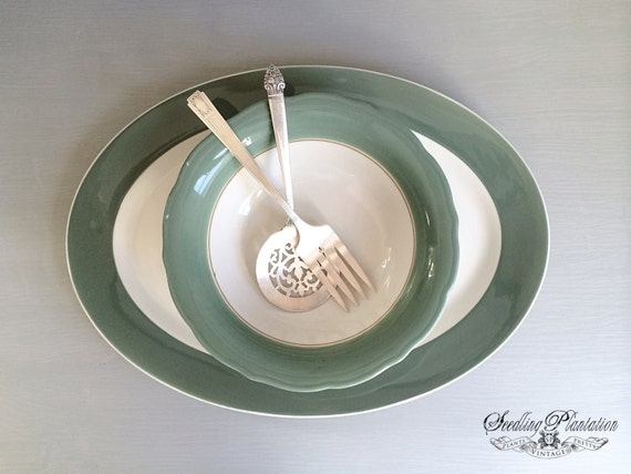 Vintage White Serving Platter and Bowl with Green Rim, Ironstone Plate, Serving Platter, White Dishes, French Country Shabby Chic Farmhouse