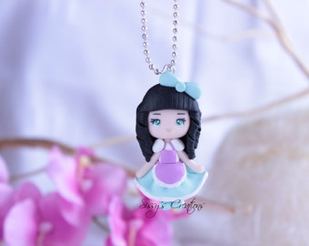Necklace sweet doll in polymer clay