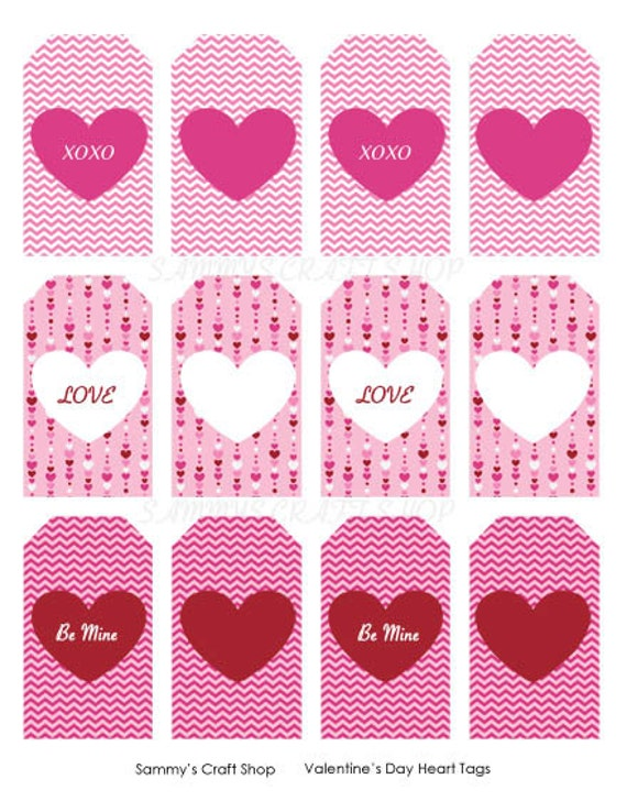 Printable Valentine Tags Heart Tags Instant Download