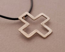 Modern Cross Pendant Necklace for Men and Women in Sterling Silver, Unique Christian Gift ST678