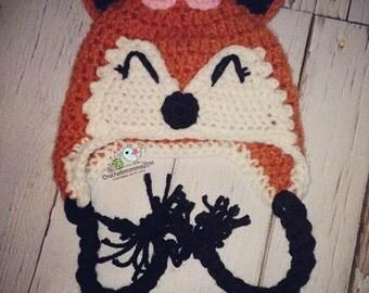 Crochet Newborn girl fox  hat