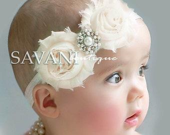 Baby headbands,newborn headband, shabby chic roses headband, headband, flower girl headband