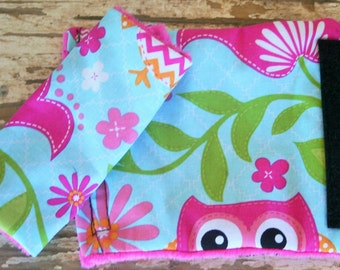 pink owls and hot pink minky Car seat strap covers for infant seat or toddler seat