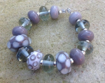 Grey & White Dotty Lampwork Glass Bead Set