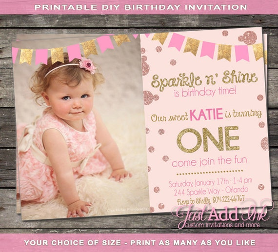 Pink and Gold First Birthday Invitation Pink and Gold