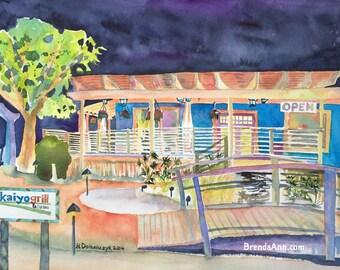 Kaiyo Grill Sushi in Islamorada, Florida - Watercolor - Archival Print         by Brenda Ann