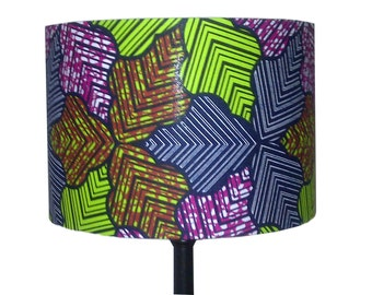 Leaf African Drum Lampshade, Fathers Day Gift, Green Brown Blue Lampshade, Woodland Gardeners gift, African Home Decor, Detola And Geek