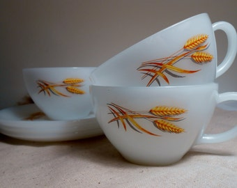 FIRE KING Wheat Pattern Set of 3 Cups Saucers