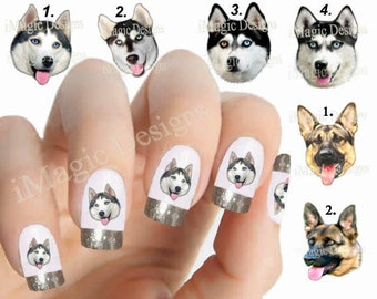 Nail Decals, Water Slide Nail Transfers, Nail Stickers, Dogs Photo Shoot - Husky (Malamute) or German Shepherd