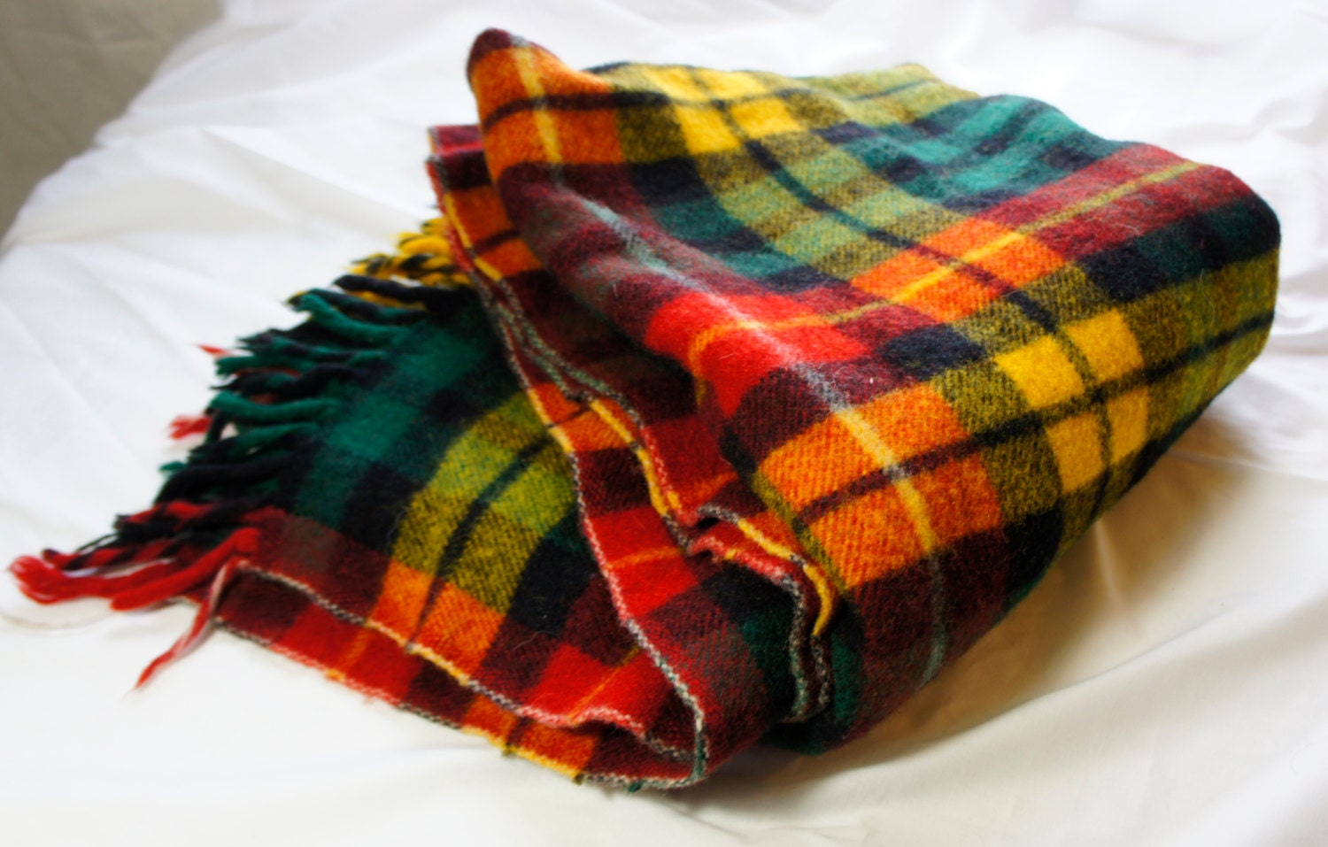 Faribo Wool Stadium Blanket Green Red Yellow And Blue Plaid