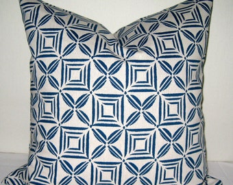 18x18 Pillow cover. Bluestone and natural pillow cover. Abstract pillow cover. Toss Pillow