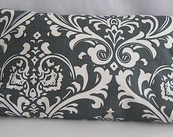 Lumbar Pillow Cover, 12x20 Pillow Cover,  Charcoal and white Pillow Cover, Invisible zipper closure pillow cover