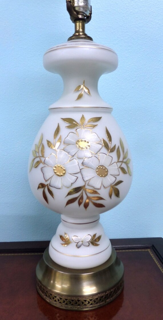 mid century white satin glass table lamp gold floral design brass. Black Bedroom Furniture Sets. Home Design Ideas