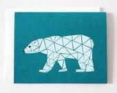 Single Screenprinted Polar Bear Card