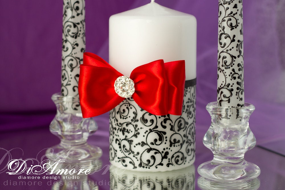 Wedding Candles: RED BLACK Wedding Unity Candles From The Collection By