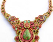 Soutache necklace in autumn colors green cinnamon and mauve soutache jewelry christmas gift for her unique art jewelry winter trend