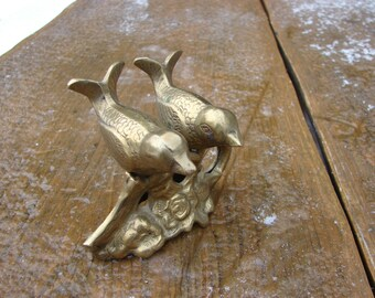 Vintage Solid brass birds figurine / Brass Figurine Home Decor / Desk Accessory / Decorative Brass Figurine / Collectible figurine